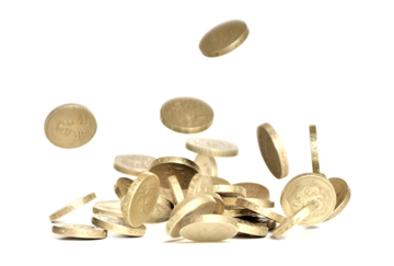 British one pound coins falling, isolated on white, no sharpening